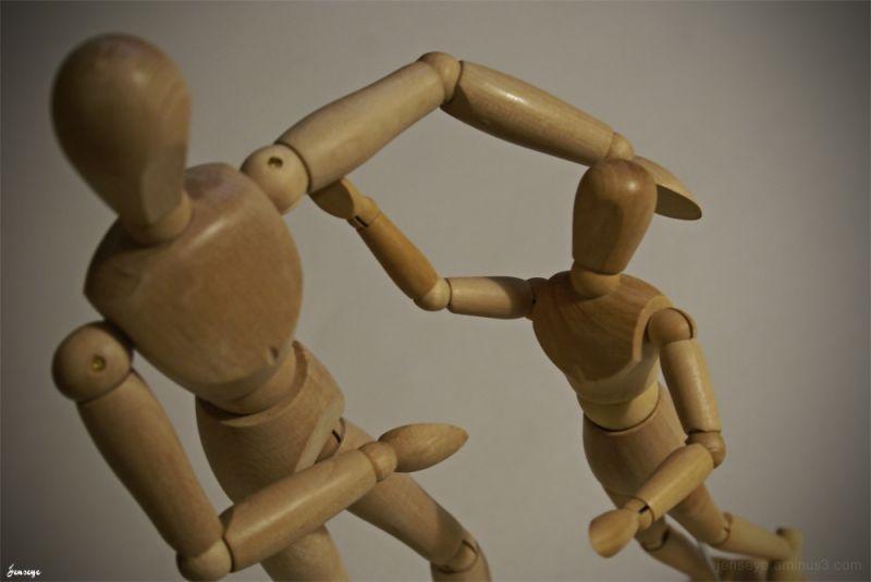 Father Son Wooden Sculpture Figures