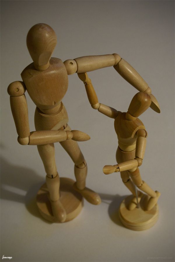 Father Son Wooden Sculptures