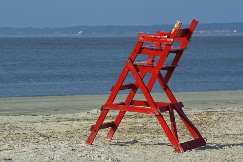 Landscape Beach Sand Lifeguard Stand Red
