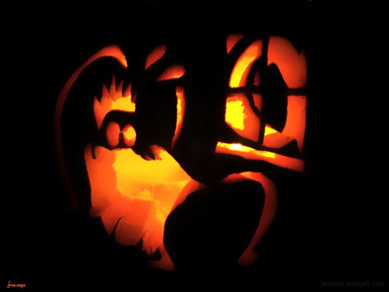 Halloween Carved Pumpkin Orange Red Black