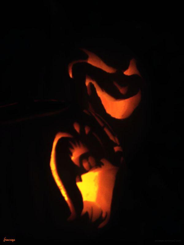 Design Pumpkin Carving Halloween Red Black Orange