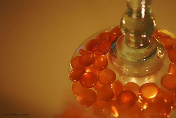 Art Orange Stones Light Candle Mirror