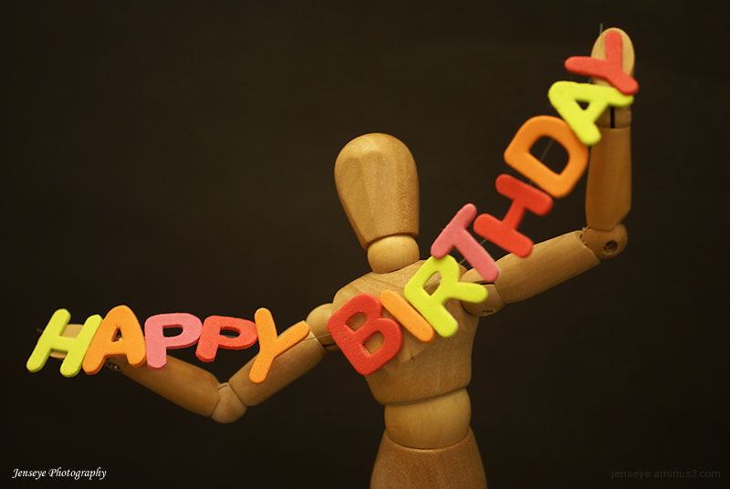 Design Art Figure Happy Birthday Letters