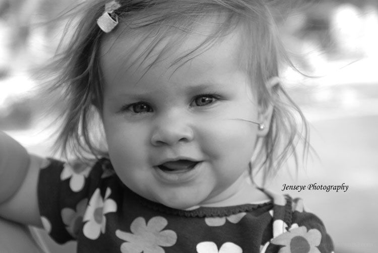 Portrait Baby Girl Beauty Black and White
