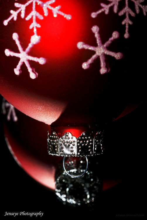 Christmas Ornament Red Reflections Silver Snow