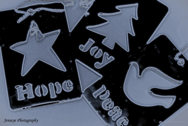 Hope Joy Peace Ornament Silver Blue