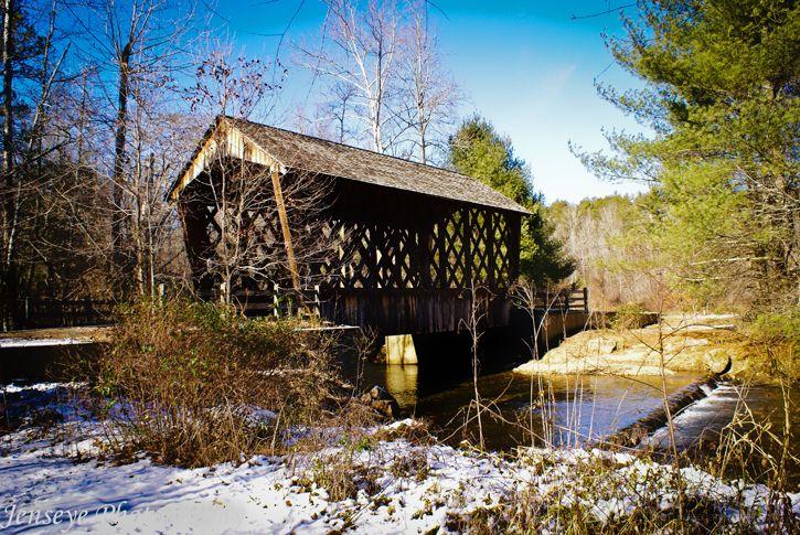 Transportation Bridge Wooden Covered Snow Woods