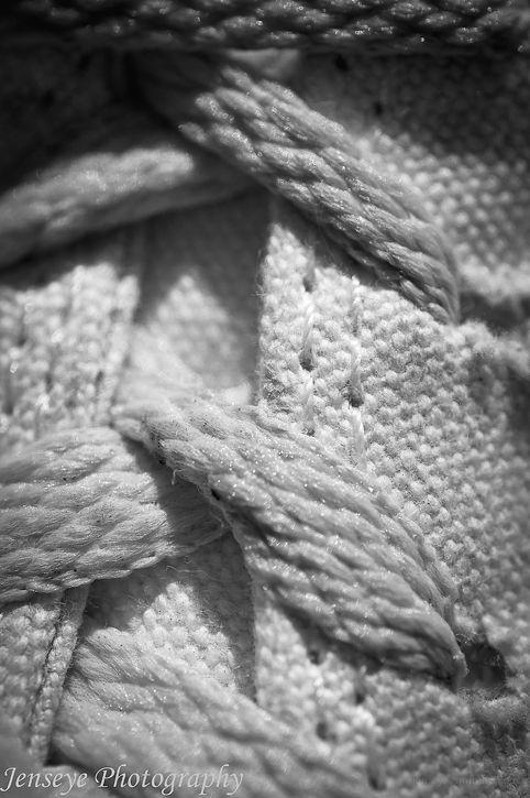 Converse Sneakers Laces White Black Macro