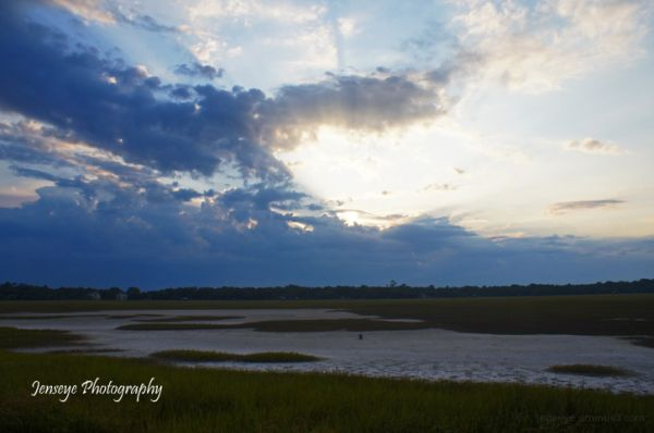 Landscape Marsh Sun Rays Clouds