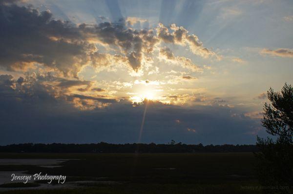 St Simons Marsh Sunset Rays Clouds Landscape