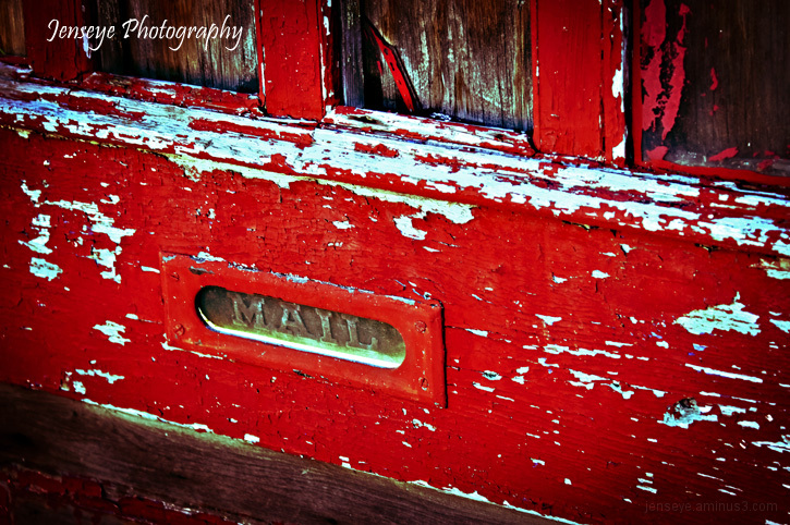 Mail Door Slot Red Paint
