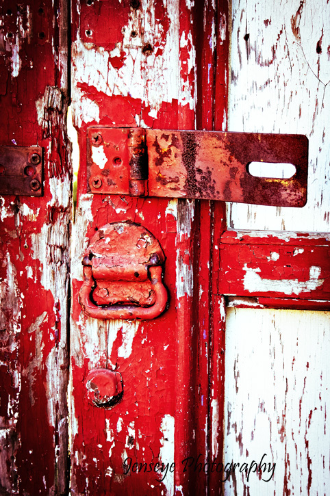 Aged Door Lock Red Paint New Orleans