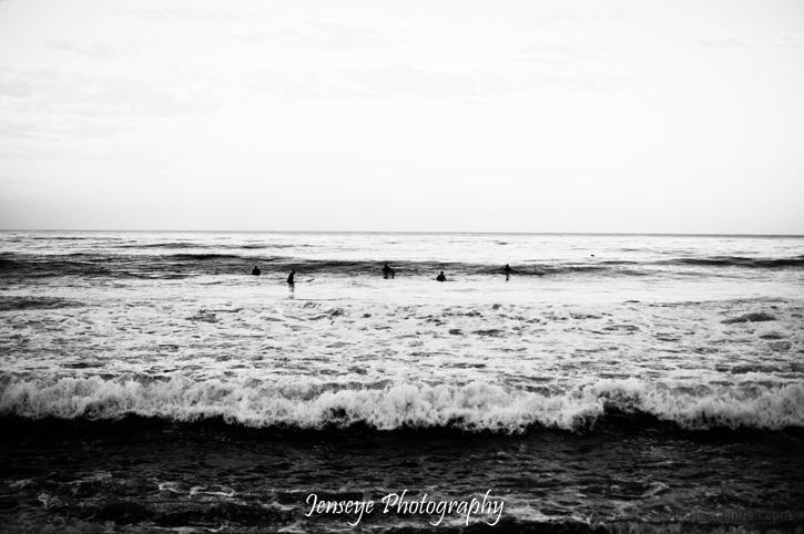 Laguna Beach CA Sunrise Surfers Black and White