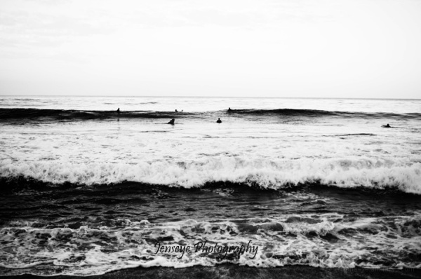 Laguna Beach CA Sunrise Surfers Beach Black White