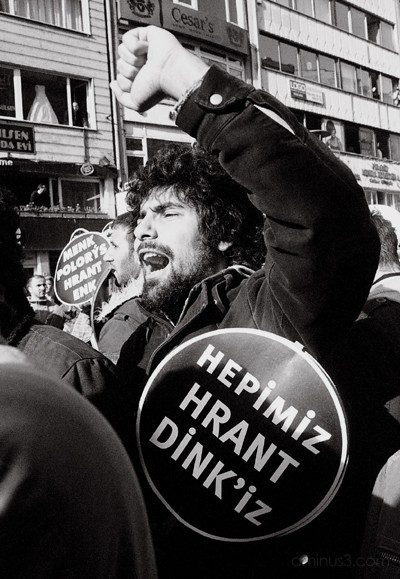 Student at Hrant Dink's funeral, Istanbul