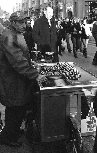 Selling chestnuts on Istiklal, Istanbul