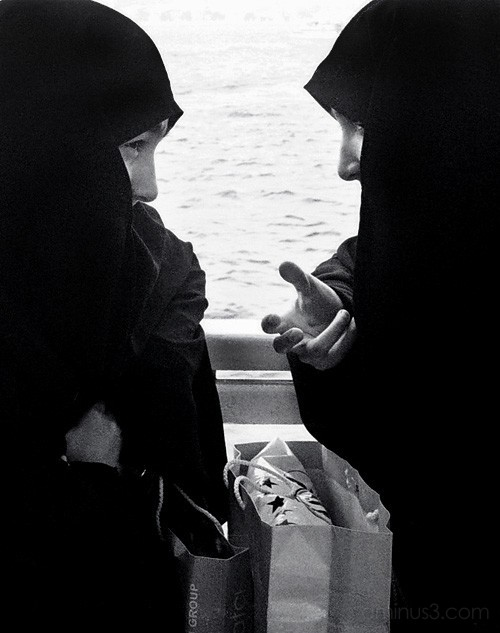 Two young Muslim women on a ferry, Bosphorus