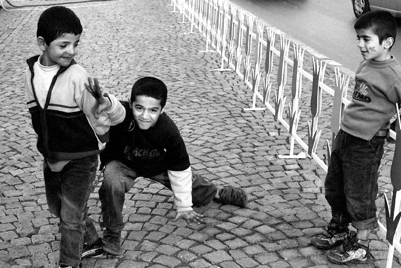 Street children posing in Taksim Sq, Istanbul
