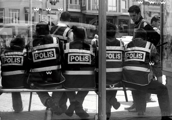 Police rest between attacks, May Day, Istanbul