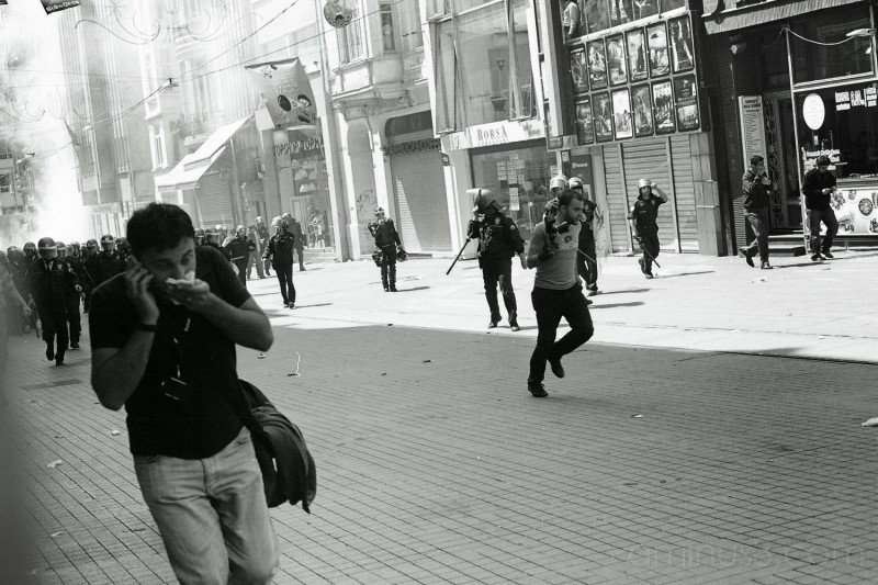 Running from pepper gas, May-Day, Istanbul