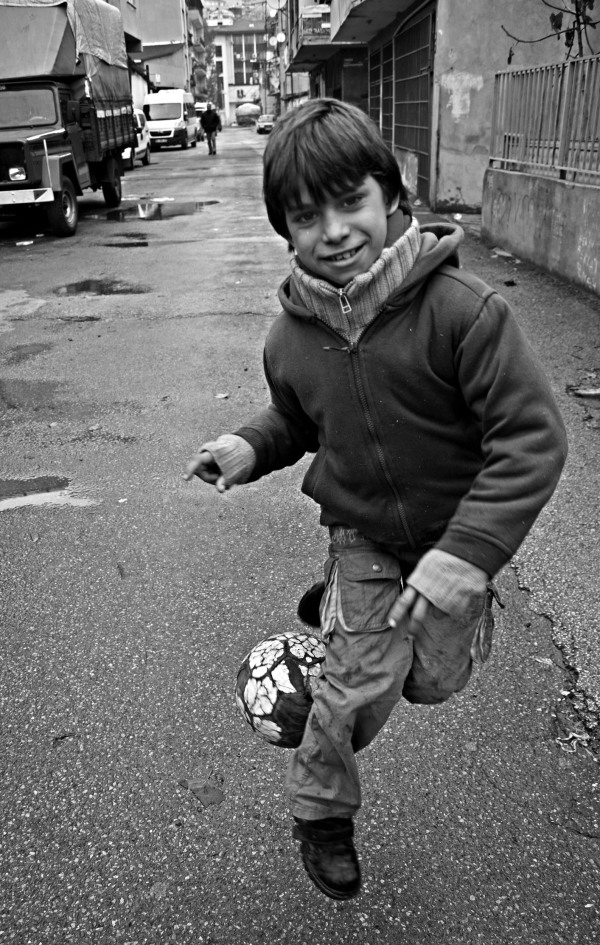 A Fikirtepe child shows off his football skills