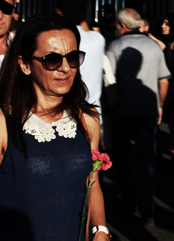 Protester with flower Taksim Istanbul