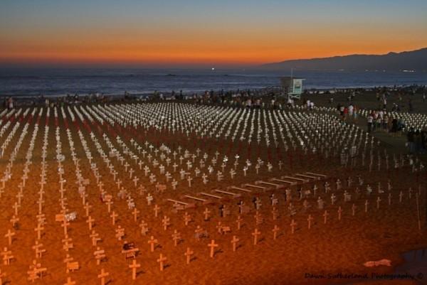 Labor Day tribute at Santa Monica Beach