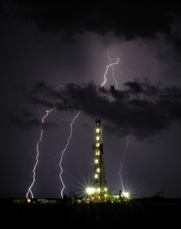 Oil Rig and Lightning