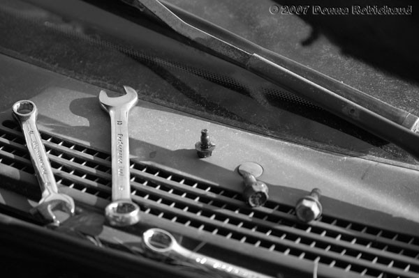 black and white automotive tools