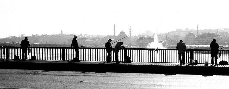 Fishing from Halic Bridge, Istanbul