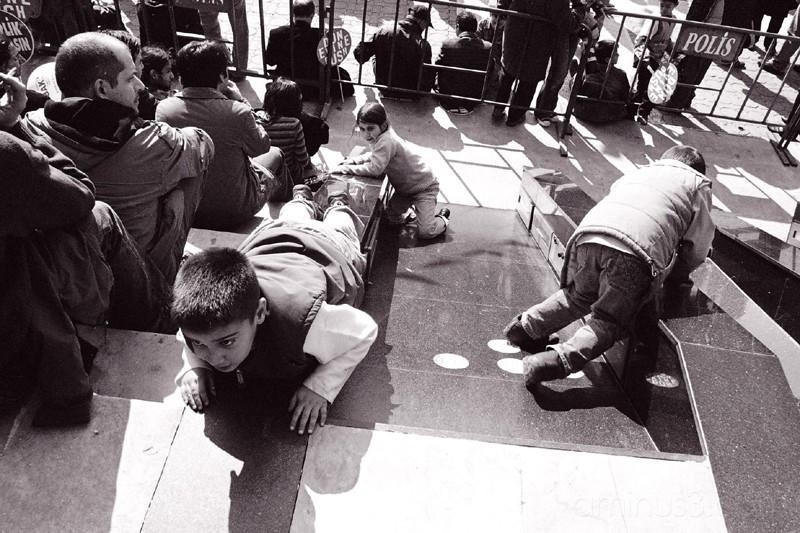 Children playing on anti-war demonstration, Istanb