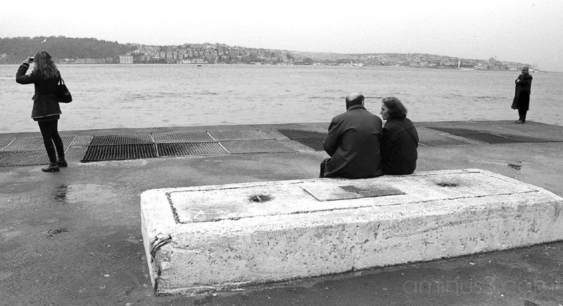 People passing time beside the Bosphorus, Istanbul