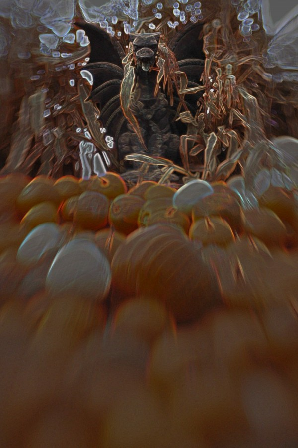 Gargoyle in the pumpkin patch