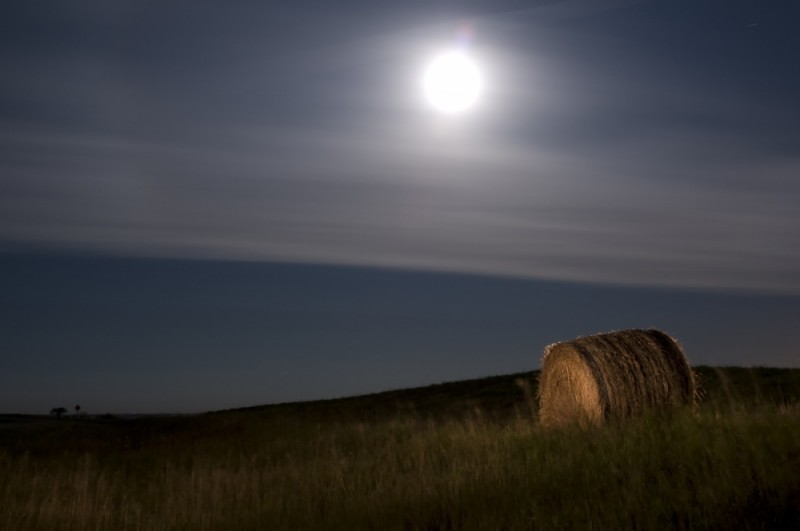 Hay Bale by Moonlight