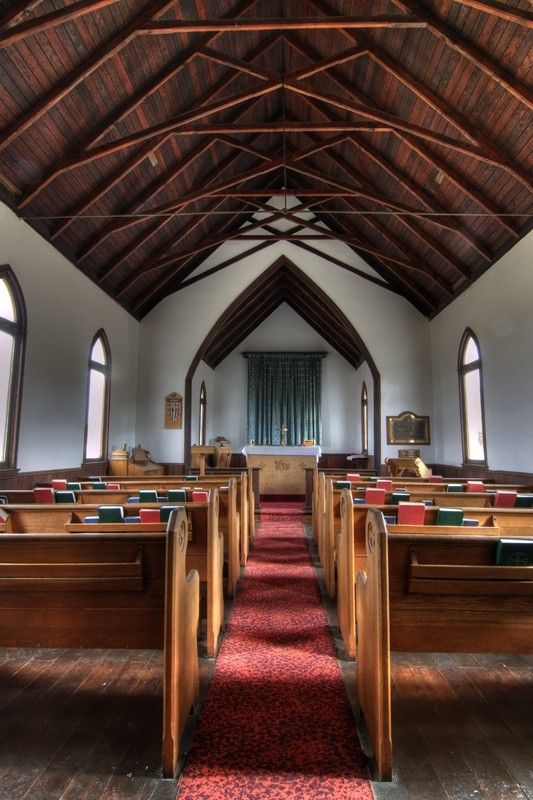 Inside the church in the valley.