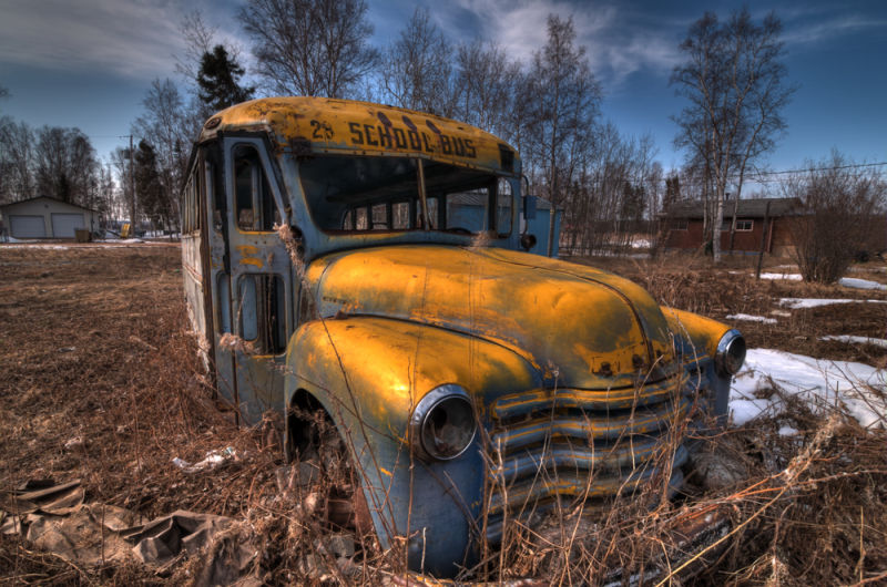 The late bus in Stony Rapids