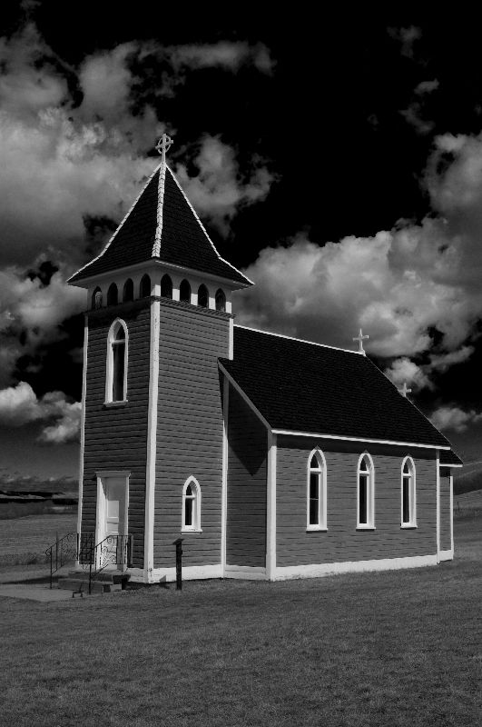 Little Church in the Valley - b&w