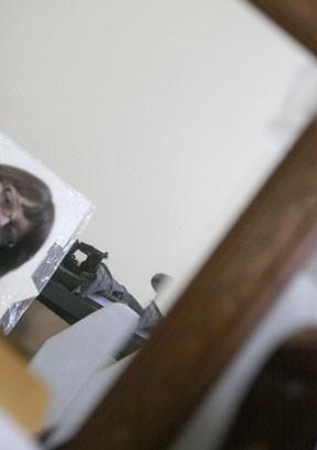 peeking in mirror
