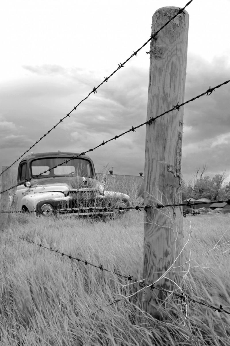 B&W Tumbleweed, Fencepost, and Truck