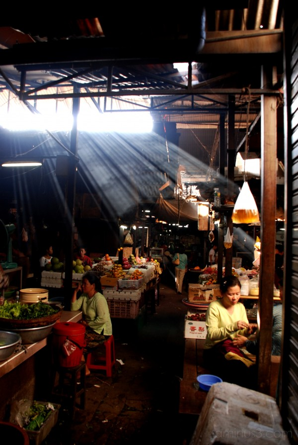sunlight streaming into a market