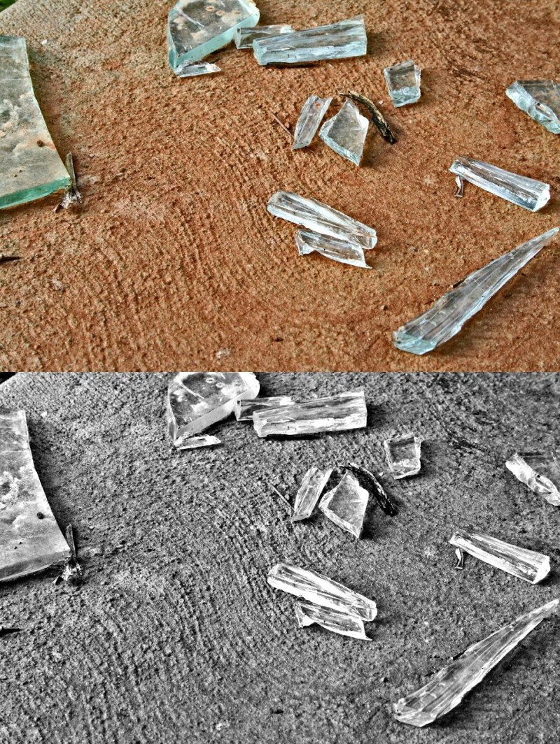 Images of Statesville; Old Hospital Broken Glass.