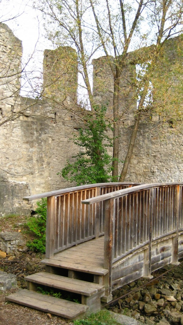 A bridge in the old mill ruins