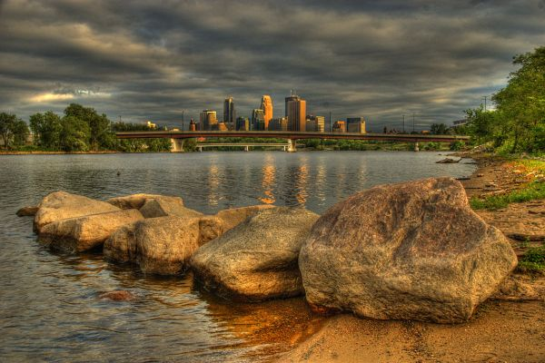 Downtown Minneapolis from West River Road