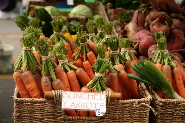 a basket of carrot bunches