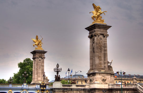 Paris France Bridge Statues