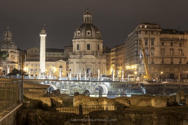 Trajan Forum at Night Basilica Ulpia