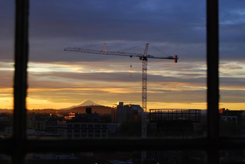 Crane Portland Sunrise Oregon