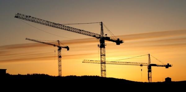 Portland crane sunset