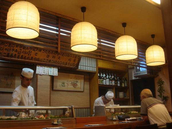 At a sushi restaurant