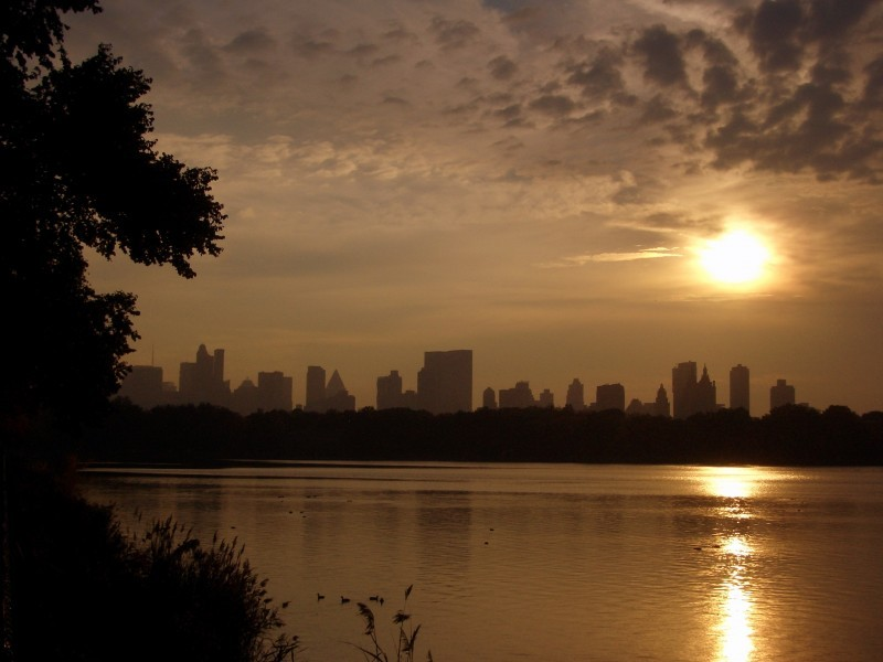 The typical sunset at the central park lake.
